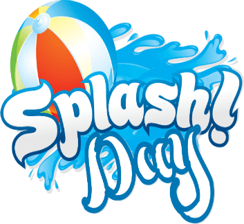 BEACH BALL, WATER AND THE WORDS SPLASH DAY