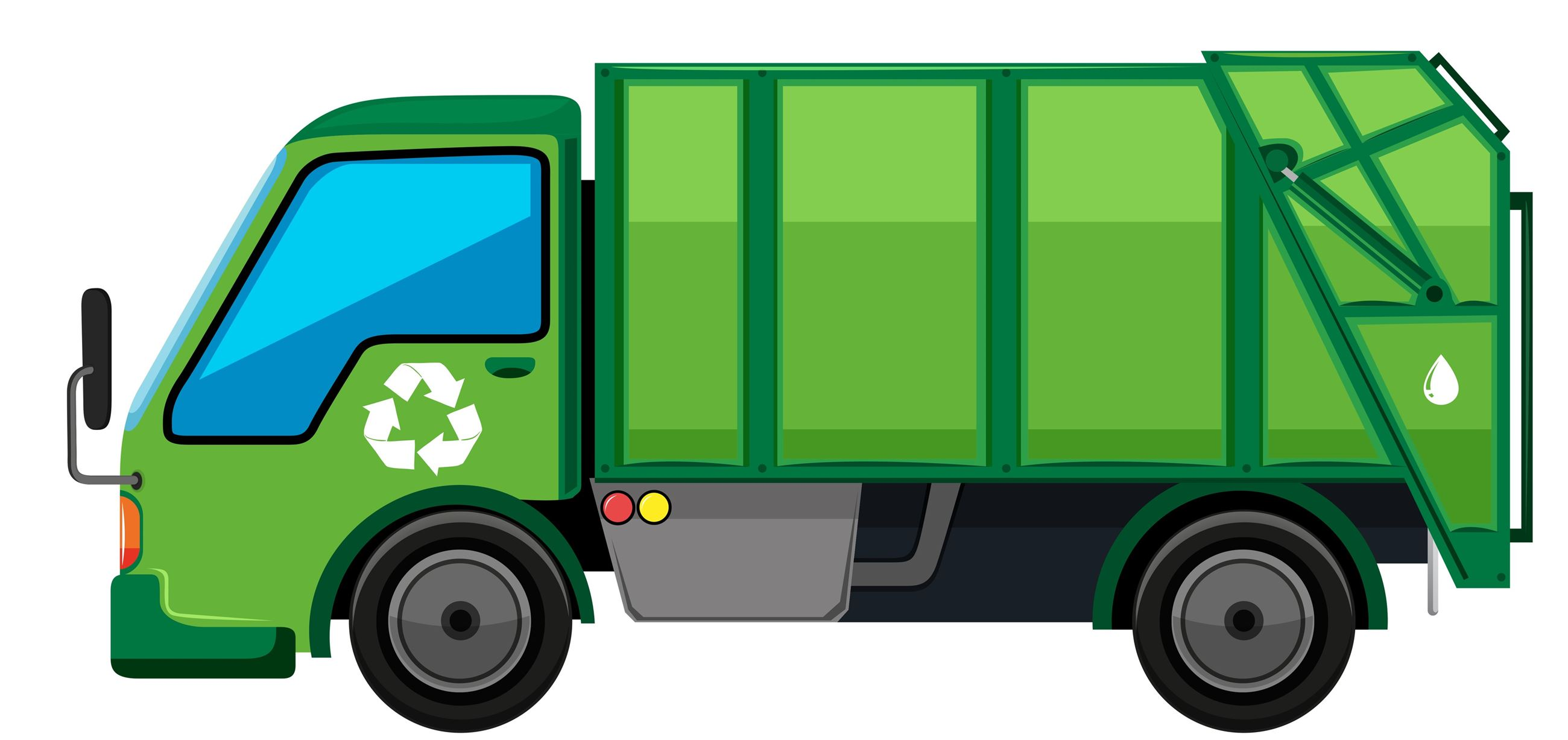 Cartoon clipart type picture of a green garbage truck.